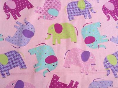 Crib Sheet/ Fitted/ Cotton -Pretty Patterned Elephants On Pink