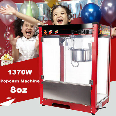 1370W Commercial Party 8OZ Popcorn Popper Maker Machine Tempered Glass Window