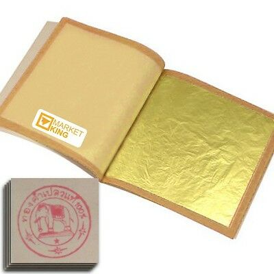 500pc XX-Reg-LARGE 24 Karat Edible Gold Leaf 4.7cm Art Gilding Cooking genuine