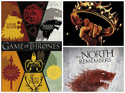 Game of thrones 3 Individual Posters Gentle Heart Win or Die Dragon Shadow New!