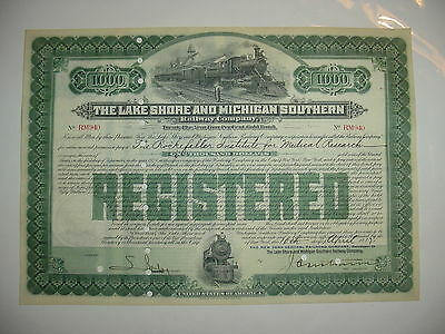 Rockefeller Issued Lake Shore & Michigan Southern Railway Bond Certificate