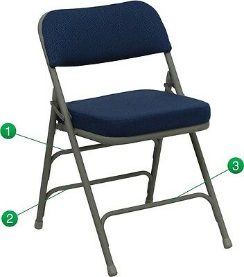 Heavy Duty Fabric Padded Navy Color Steel Folding Chairs