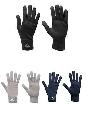Mens Adidas Knitted Knit Black Navy Grey Gloves Sport Running Winter Acrylic NEW