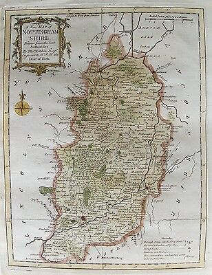OLD ANTIQUE MAP NOTTINGHAMSHIRE by T KITCHIN c1764 18th C ANTIQUE ENGRAVING