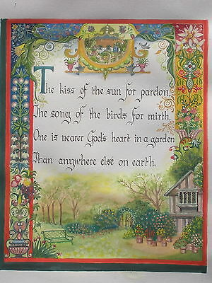 Illuminated manuscript hand-painted unique folk art poetry ENGLISH GARDEN - GIFT