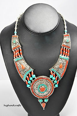 Tibetan Silver Hand Carved Big N Bold Turquoise/coral Pandent Necklace 04