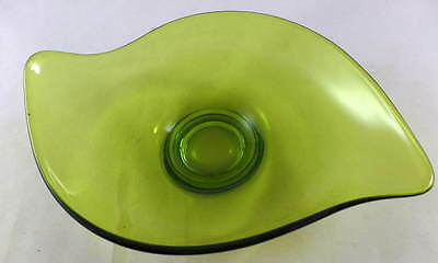 Blenko Glass  Avocado Green Wavy Platter Plate Dish Vintage 1960's