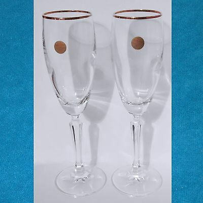 "2 Echt Bleikristall Crystal Champagne Flutes Gold Rim Germany 9"" Tall Glass"