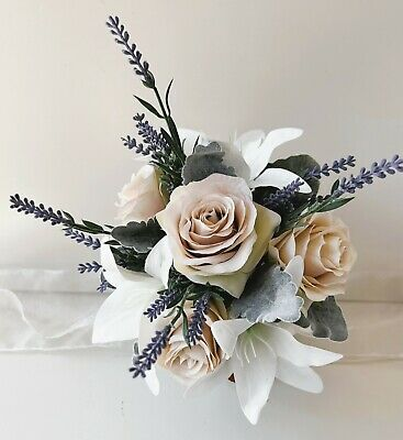 Silk Artificial White Rose Roses Bud Flowers Wedding Bouquet Bouquets Cream