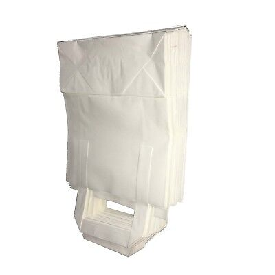 "100 Medium White Carrier Bags Takeaway Restaurant Flat Handle 8"" x 13"" x 4"""