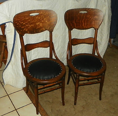 Pair of Solid Quartersawn Oak Dinette Chairs / Sidechairs  (JLC-SC173)