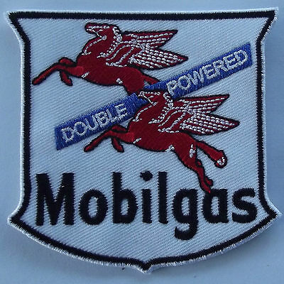 Mobilgas double powered flying red horse Pegasus embroidered cloth patch D020201