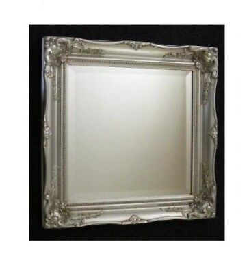 SQUARE Shabby Chic Ornate Swept SILVER OR IVORY French Antique MIRROR