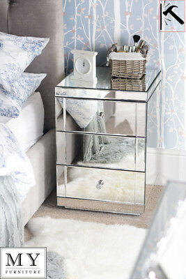 MY-Furniture Mirrored  Bedside Table 3 Drawers with Plinth - Lucia