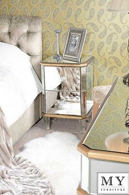 MY-Furniture Mirrored  Furniture Bedside Table  2 Drawers  (Versailles range)
