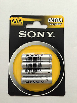 Sony AAA RO3 x 4 Ultra Heavy Duty Batteries 4 Pieces 1 Pack 1.5V Brand New Pack