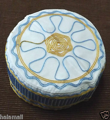 New Kufi Hat Mens Koofi Topi Kofi Embroidery Cap - Gold & Blue size 22 inch#10