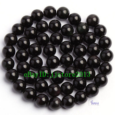 """8mm Smooth Natural Black Obsidian Round Shape Gemstone Loose Beads Strand 15"""""""