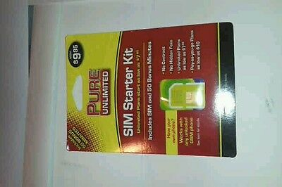 1 new pure unlimited sim card with $7.95 credit on card. Ready for activation