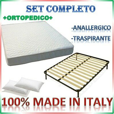 Set Completo Rete Ortopedica Materasso Waterfoam Anallergico Guanciali