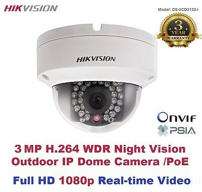 3 MegaPixel HIKVISION Full HD 1080p Outdoor WDR IR Night Vision IP Dome/PoE