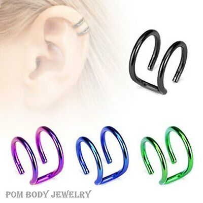 18G 5/16'' Titanium IP Fake Ear Cuff Wrap Cartilage CLIP ON Double Closure Ring