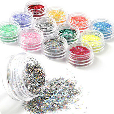 Bling Nail Art 12colors Glitter Strip Lace Powder Decoration Acrylic Tips Set
