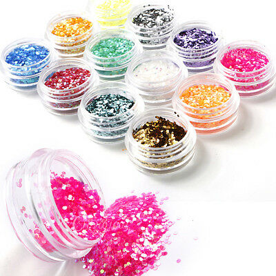 Tiny Hexagon 12color Nail Art Glitter Powder Tips Decoration Dust UV DIY Acrylic