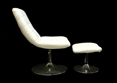 Vintage Revolving Chair & Footstool Tulip Retro faux leather Stainless Steel