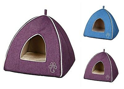 Pyra Cat Cave Small Igloo Dog Bed With Cat Style Paw Motiff