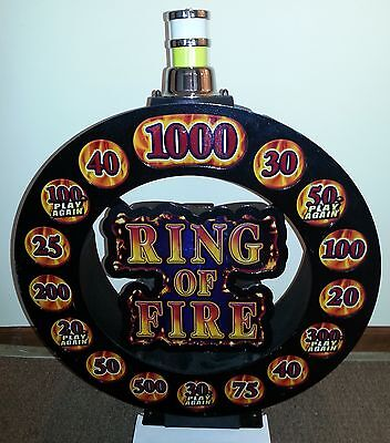 Williams Slot Machine RING OF FIRE Topper and Bluebird Top & Belly Glass Set
