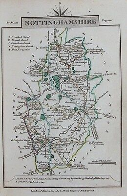 OLD ANTIQUE MAP NOTTINGHAMSHIRE by J CARY c1810 19th C ENGRAVING HAND COLOUR