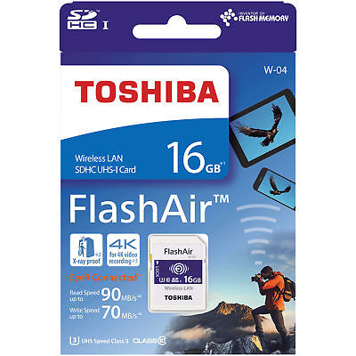 New Toshiba 16GB Wi-Fi Wireless LAN FlashAir SDHC SD Class 10 Camera Memory Card