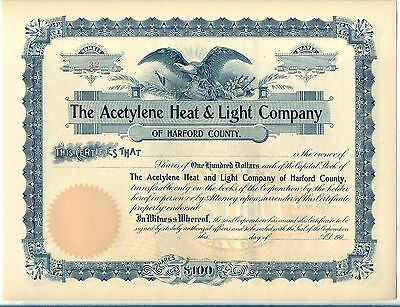 The Acetylene Heat & Light Company Stock Certificate Harford County Maryland