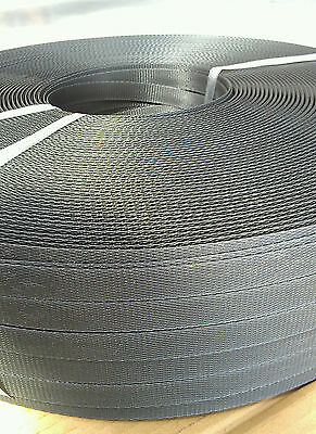 19mm x 1000m Black Heavy Duty  Band Poly Strap 400kg Breakload Strapping
