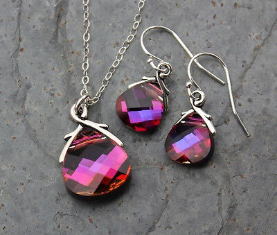 Volcano briolette sterling silver necklace & earring set, bright fuchsia pink
