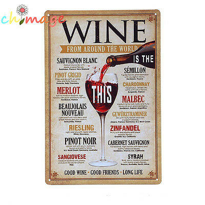 WINE AROUND THE WORLD Tin Sign Bar pub home Wall Decor Retro Metal Art Poster
