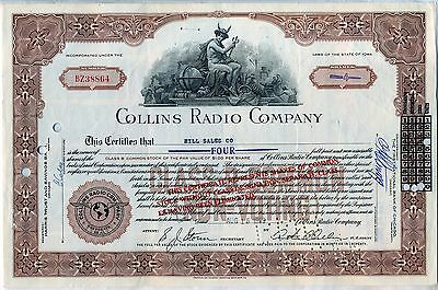Collins Radio Company Stock Certificate Rockwell Iowa