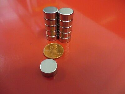 """10 Large 12mm x 6mm (Aprox 1/2"""" x 1/4"""") Neodymium Disc Magnets Strong Rare Earth"""