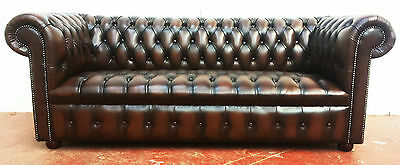 Bespoke Leather Chesterfield 3 Seater Sofa With Buttoned Seat Cushion