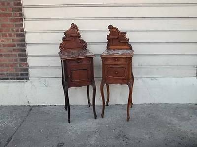 Carved Antique Walnut French Marble Top Designer Night Stands - Dr81