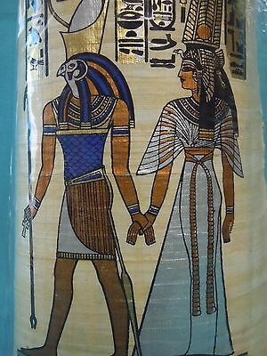 Egyptian AuthenticPapyrus Art-God of the Sun-Falcon Head with Queen