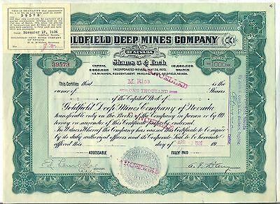 Goldfield Deep Mines Company Stock Certificate Nevada Mining Gold