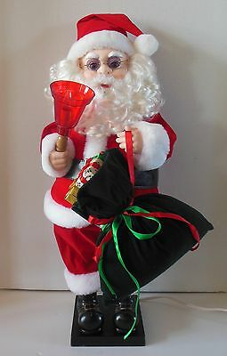 Vintage Christmas Animated Lighted SANTA CLAUS w/BELL Doll 1993 IOB Cool Glasses
