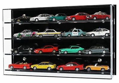 Acrylic Model Wall Display Case for 1:43 Scale Model Cars - 4 Shelves