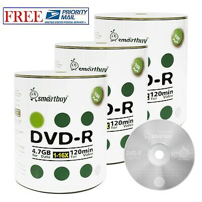 300-Pack SmartBuy Logo Top Surface Blank DVD-R DVDR 16X 4.7GB Recordable Disc
