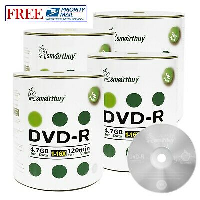400-Pack SmartBuy Logo Surface Blank DVD-R DVDR 16X 4.7GB Recordable Media Disc