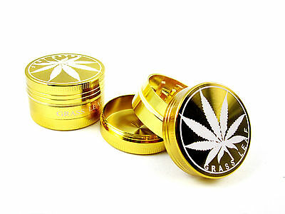 Gold Grassleaf 40Mm 3 Part Shark Teeth Magnetic Grinder Herb Weeds Pollinator
