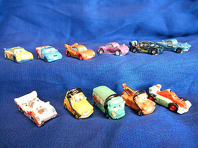 CARS 2 Set of 11 Mini French Porcelain FEVES Miniature Figurines DISNEY PIXAR