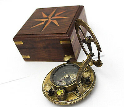 Brass Sundial Compass - Sundial Compass with Hardwood Case
